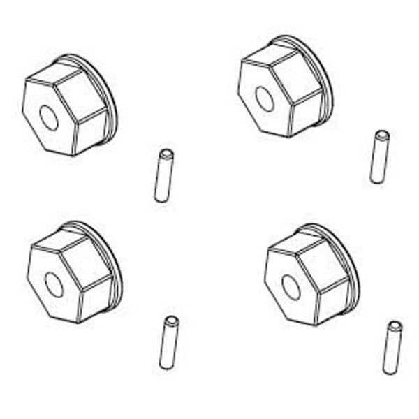 RC SYSTEM Hexagones roues + goupilles 2x10 4pcs