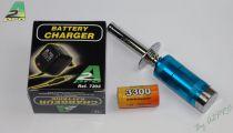 1267 - Chauffe bougie voltmetre avec accu nimh 3300 + chargeur