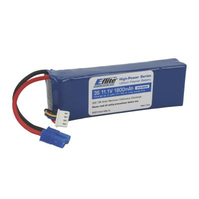 E-FLITE Accu Li-Po 1800mAh 3S 11.1V 20C, 13AWG EC3 - HORIZON HOBBY - Référence: EFLB18003S