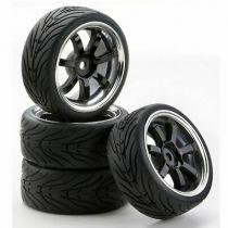500900547 - set de 4 roues 1/10 W7 Style chrome/noir - CARSON