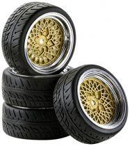 500900551 - set de 4 roues 1/10 Style Classic chrome/or - CARSON