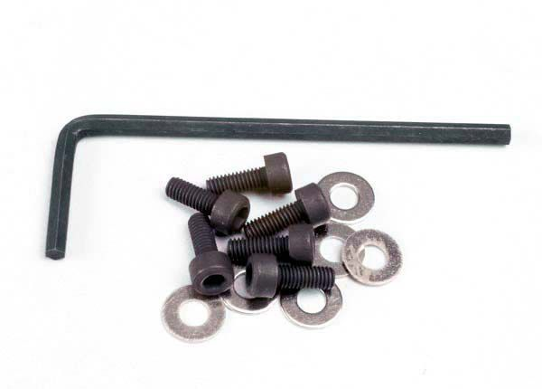 BACKPLATE SCREWS (3X8MM HEX CAP) (6)/WASHERS (6)/ WRENCH - TRX1552 - TRAXXAS
