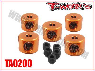 Bagues d\'arrêt de 2 mm oranges T-Work\'s (5)