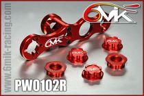 Clef à roue + 5 ecrous borgnes 6MIK rouge