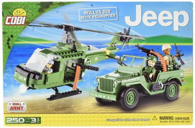 Cobi - 24254 - Small Army - Jeep Willys MB + hélicoptère 250 pièces 3 personnages