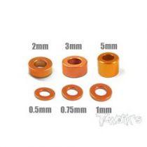 Entretoises alu M3 orange T-Work\'s (4x6 tailles)