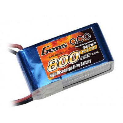 Gens ace Batterie LiPo 3S 11.1V-800-40C(JST) 60x30x20mm 70g GE1-0800-3J