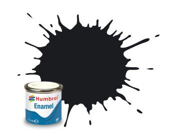 Humbrol 14ml Noir Email (Brillant) - Black Gloss - Enamel Paint - 021 - HU021