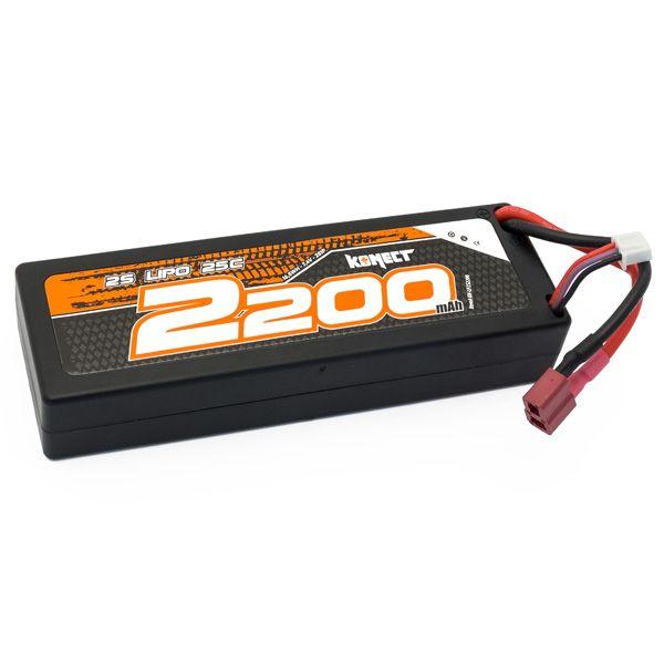 Konect Lipo 2200mah 7.4V 25C 2S1P 16.5Wh (Slim Pack Dean) - KN-LP2S2200