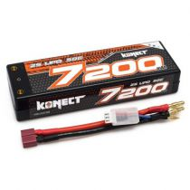 Konect Lipo 7200mah 7.4V 50C 2S1P 53.2Wh (Slim Pack Dean ) - KN-LP2S7200