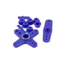 Palonniers de servo bleu fluo avec adaptateur universel