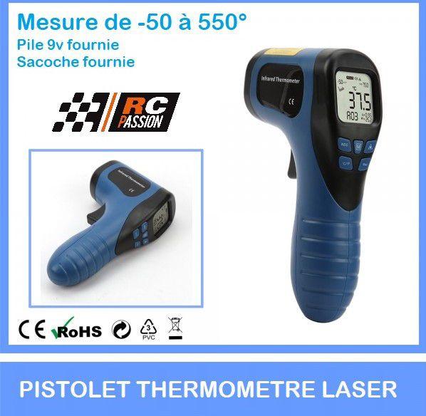 Pistolet laser pour mesure de températures (-50 à +550° celcius) pile fournie + sacoche