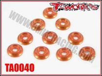 Rondelles cuvettes orange T-Work\'s pour vis M3 TB (10)
