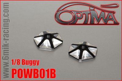 Rondelles d\'aileron OPTIMA 1/8  hexagonales en ergal noir (2 pcs)