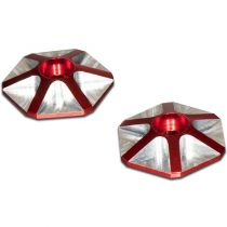 Rondelles d\'aileron OPTIMA 1/8  hexagonales en ergal rouge (2 pcs)