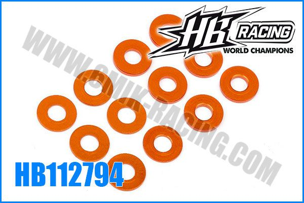 Rondelles de calage HB 3x7x0,5/1 mm (6)