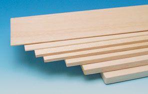 S002005 - Planche de balsa. Epaisseur : 4 mm. Largeur : 100 mm. Longueur : 1000 mm, vendue à la pièce.