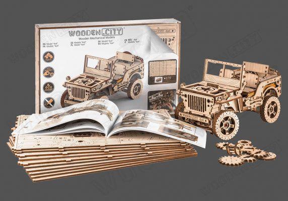 S056WR309 - Jeep 4x4  maquette/puzzle 3D en bois - WOODEN CITY