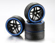 """Train de roues Drift 10-Rayon \""""Profile A\"""" Jante noir/Bague bleu 1:10 (4) - WHEEL DEAL"""