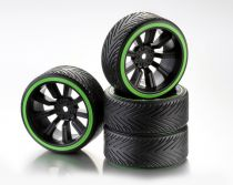 """Train de roues Drift 9-Rayon \""""Profile A\"""" Jante noir/Bague néon vert 1:10 (4) - WHEEL DEAL"""