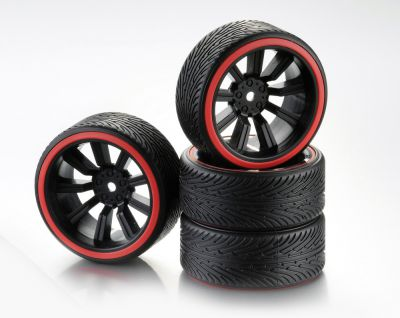 "Train de roues Drift 9-Rayon ""Profile B\"" Jante noir/Bague rouge 1:10 (4) - WHEEL DEAL"