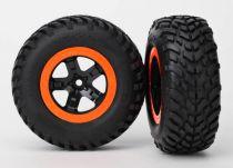 "TRX5863 - Roue monte collee 2.2"" noir et orange jante beadlock - Slash/Raptor/Telluride - TRAXXAS"