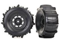 TRX8475 - ROUES MONTEES COLLEES DESERT RACER PNEUS PELLE (2) - Traxxas