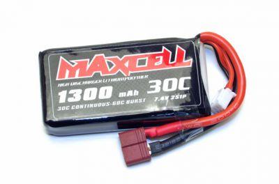 Z03L302S1300 Maxcell - Accu Lipo 2S 7,4V 1300mah 30C prise dean