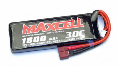 Z03L302S1800 Maxcell - Accu Lipo 2S 7,4V 1800mah 30C prise dean