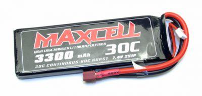 Z03L302S3300 Maxcell - Accu Lipo 2S 7,4V 3300mah 30C prise dean