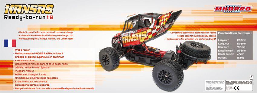 Z6000016 - MHDPRO - KANSAS Desert Brushed (Charbon). RTR 1/10 + chargeur + batterie